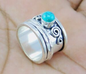 Turquoise stone 925 silver plated handmade Spinner Ring US Size 8  Z240