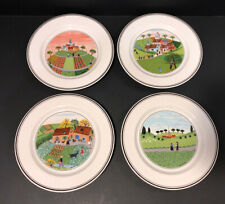 "Villeroy & Boch Design Naif S/4 Bread and Butter Plates 6.5"" Laplau 1,3,5,6"