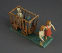 Grulicher Krippenfigur, Gabenbringer, 2 Kinder mit Leiterwagen,  7 cm (# 12032)
