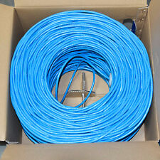 CAT6 Ethernet Riser CMR Cable Gigabit Blue 1000FT - SOLID BARE COPPER - NOT CCA
