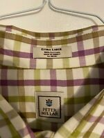 Peter Millar Mens Button Down Shirt XL Purple Green Check Cotton Long Sleeve