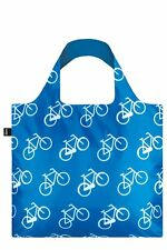 LOQI Grocery Shopping Fold Reusable TOTE BAG Washable BIKE BICYCLE Blue White