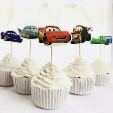 12 x Disney Cars CUPCAKE CAKE TOPPER Party Supplies Pick Food Lightning McQueen