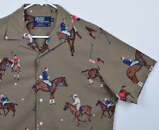 Vtg 80s Polo Ralph Lauren Men's Sz Medium Horses Polo Graphic Button-Front Shirt