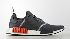 Men's Adidas NMD R1 WOOL GREY CHARCOAL (OG BOX) 3M BOOST SZ 10 GRAY ORANGE/RED