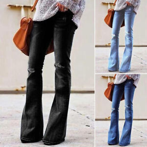Womens Ripped Bell Bottoms Flared Denim Pants High Waist Skinny Jeans Trousers