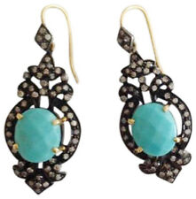 Victorian 925 Silver Dangler Earring 2.65ct Rose Cut Diamond Turquoise Antique