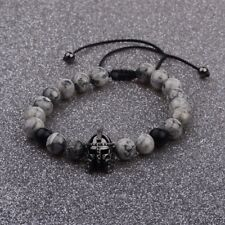 Men Charm Black Spartan Helmet Beaded Natural Stone Adjustable Braided Bracelets