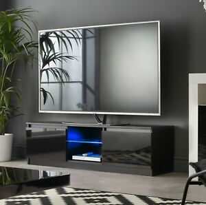 """Black Modern TV Stand Cabinet with LED Lights for 42"""" 50"""" 55"""" TV's Gloss Doors"""