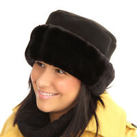 LADIES FLEECE HAT WITH FUR TRIM(Hawkins). two colours. FREE 1st class post