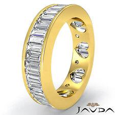 Baguette Channel Diamond Women Eternity Wedding Band 18k Yellow Gold Ring 3.5Ct