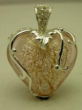 'Cristal De Murano' estilo Corazón De Plata De Ley Engaste cristal Colgante