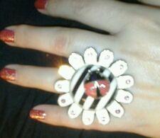 Vintage Betsey Johnson  Enamel Ladybug  Striped Daisy Ring- signed