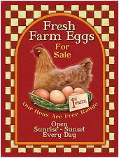 New 15x20cm Fresh Farm Eggs For Sale retro small metal advertising wall sign