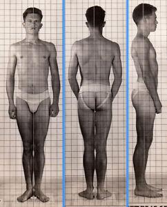 MEAN SUPERHERO BADASS~1940s 5x7 NAVY ID PHOTO NEAR NUDE JOCK SAILOR MAN gay #215