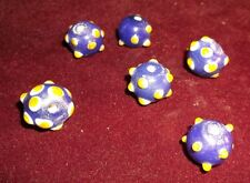 Lot of 6 Skunk or 1000 Eye Venetian Antique Glass Trade Beads Blue White Yellow