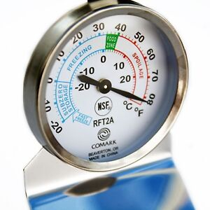 Comark RFT2AK Fridge/Freezer Thermometer - Colour Code Zoned, Easy Reading Scale