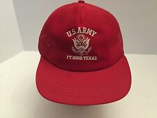 *VTG US ARMY Fort Hood Texas Hat Snapback Trucker Cap Red Mesh Foam USA. Ba11092