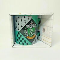 Harry Potter Slytherin Shield Ceramic Coffee Mug Green Gray New In Box 14 OZ