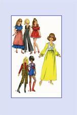 Doll Clothes Pattern 9697 Barbie Dollikin Samantha Cher Farrah Fawcett Supergirl