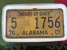 Vintage Antique 1976  License Plate Car Tag ALABAMA 5-1756 MAN CAVE DECOR DIXIE