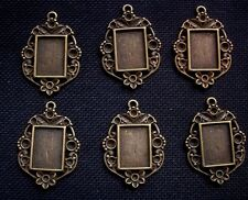 6 Picture Frame Cabochon Settings Antiqued Bronze Tone Metal fits 14mm x 10mm