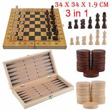 Holz Schach Backgammon Dame Kassette 3 in1 Spiel Schachspiel Backgammonspiel