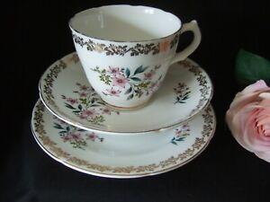 Vintage Royal Grafton , Bone China Trio Cup Saucer Plate Floral Spring Design