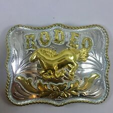 Men's Belt Western Style Buckle Shine Rodeo Horse Silver/Gold Color Medium Size