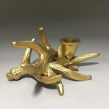 Modern Rustic Gold Metal Deer Antler Cluster Tapered Candle Holder NWT Shiraleah
