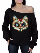Cat Sugar Skull Off Shoulder Slouchy Sweatshirt Oversized Day Of Dead Black XL