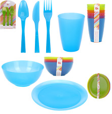 Set of 36 Picnic Camping Plastic Bowls Plates Tumblers & Cutlery Bright Colours
