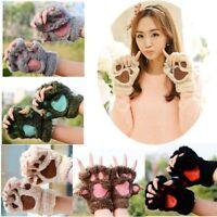 Hiver femme chat griffe patte peluche mitaine Short doigt gants demi