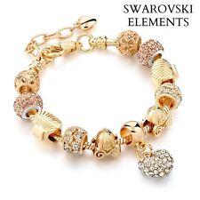 Bracelet gourmette charms coeur coquillages doré/ argenté Swarovski® Elements