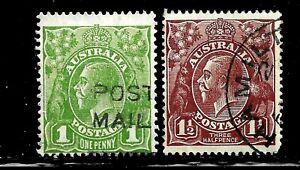 HICK GIRL-USED AUSTRALIA STAMP   SC#62-3  1918-23  KING GEORGE V     D970