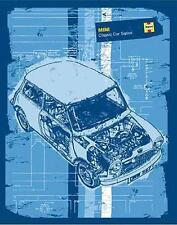Mini Cooper Poster Haynes blau