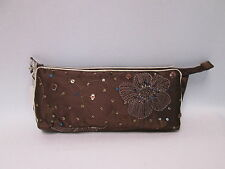 Chocolate Brown Beaded Cosmetic Makeup Bag Pencil Pen Brush Case Purse #2F6