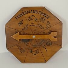 New listing Vintage Wooden Fisherman's Choice Novelty Wooden Spinner Wall Hanging w Arrow