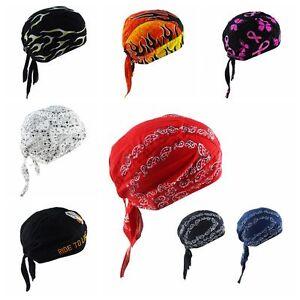 Multicolor Men Women Pure Cotton Biker Bandana Head Wrap Printing Pirates Hat