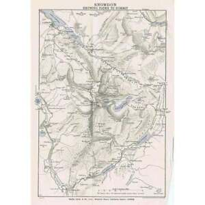 SNOWDON Showing Paths to the Summit - Vintage Folding Map 1937