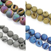 Titanium Coated Druzy Quartz Agate Round Gemstone Beads for Jewellery Making