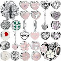 Pop Zirocn Heart Jewelry Diy Bead Charms Fit European 925 Silver Bracelets Chain
