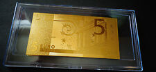 24 KARAT GOLD * 5 EURO* European Union MONEY 2002 * BILL COMES IN ACRYLIC HOLDER