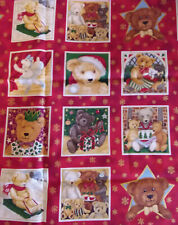 Christmas Bears Squares Red Christmas fabric