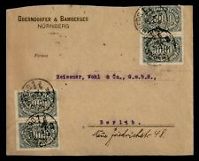 DR WHO 1923 GERMANY PERFIN PAIR NURNBERG TO BERLIN  f50195