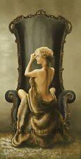 Ron di Scenza: Seated Beauty Mädchen Akt Fertig-Bild 50x100 Wandbild