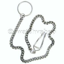 with Key Ring Nice Mens Accessory Silver Antique Pocket Watch Chains Fob 14""