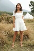 Women's Sexy Slim Ruffle Dress Lady Short Sleeve Casual Lace Ball Gown Dresses