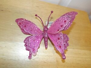 """7"""" Pink Butterfly Clip-on Chiffon Glitter Sequins Tree Craft Decorations"""