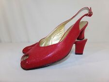 """BRUNO MAGLI Red Open Toe Slingbacks Leather ITALY Shoes Pump 5 1/2 B 2"""" Heel"""
